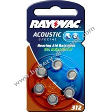 Rayovac Extra Advanced hearing aid battery type 312  6-unit blister